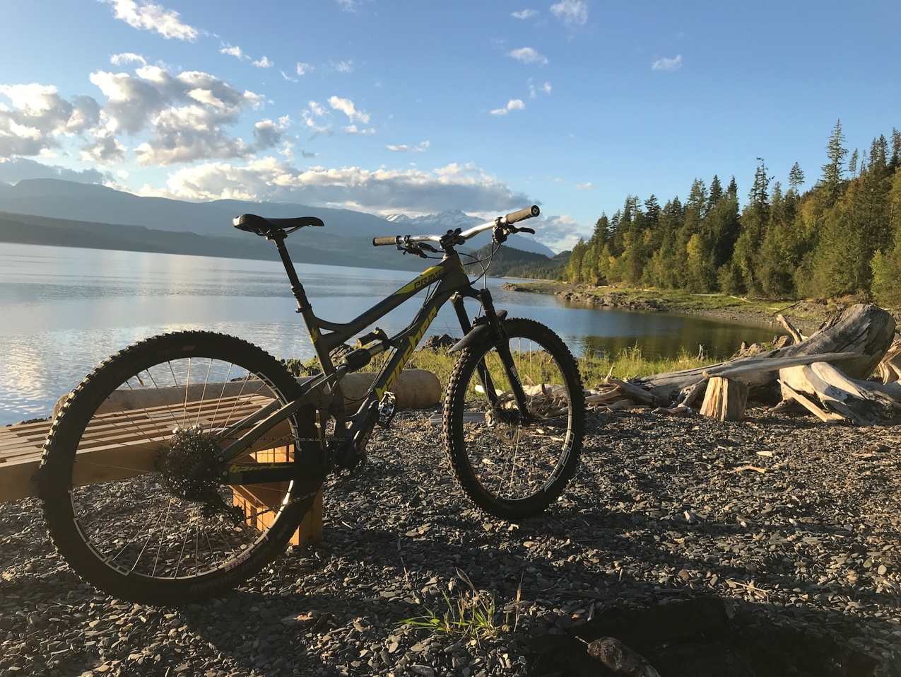Beach at the end of Rhy's Peaces, mountain biking trail in Nakusp, BC
